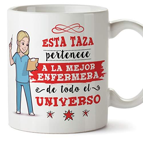 MUGFFINS Enfermera Tazas Originales de café y Desayuno para Regalar a Trabajadores Profesionales - Esta Taza Pertenece a la Mejor Enfermera del Universo - Cerámica 350 ml