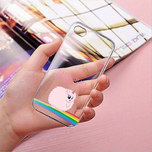 finoo | iPhone 8 Plus Handy-Tasche Schutzhülle | ultra leichte transparente Handyhülle in harter Ausführung | kratzfeste stylische Hard Schale mit Motiv Cover Case |Einhorn 02 Einhorn flauschig 1