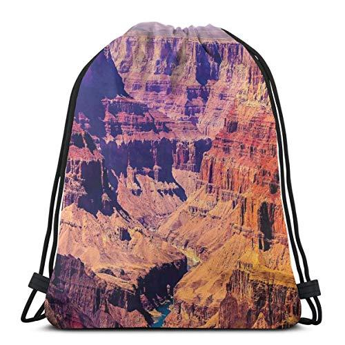 Juzijiang Drawstring Shoulder Backpack Travel Daypack Gym Bag Sport Yoga,Grand Canyon In Arizona with Base Elevations North American Sublime Tribal Landscape,5 Liter Capacity,Adjustable. -