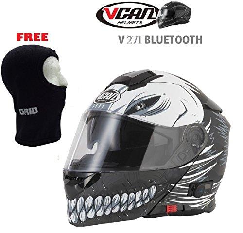 Nuovo casco bluetooth - vcan v271 hollow casco moto touring bluetooth sportivi casco modulare, nero opaco + gratis passamontagna (m)