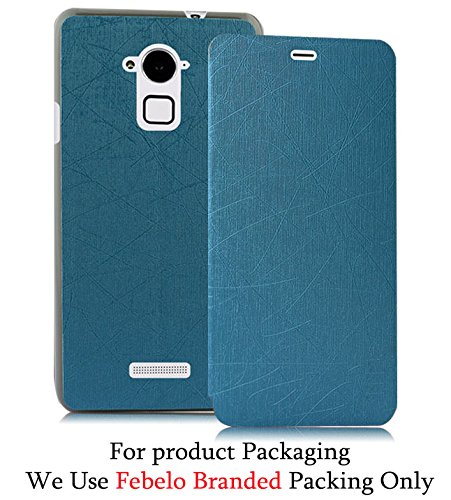 Febelo Branded Perfect Fitting Video Stand View Flip Case Cover for Coolpad Note 3 - Sky Blue
