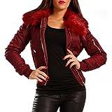 Damen Bomberjacke Gefüttert mit Kunstfellkragen Fliegerblouson Winter Jacke, Farbe:Bordeaux/Bordeaux Fell;Größe:38/M