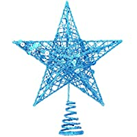 Aohua High Grade Glitter Rose Gold Silver Star Christmas Tree Topper Decoration Ornament Xmas New(None Blue)