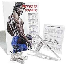 ATHSCULPT ABS Body Fat Caliper with 6 Week Progress Tracker (Vidyut Jamwal) and Measuring Tape, White