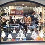 Kicode BigFamily vetrofanie Albero di Natale Fiocco di Neve Alce Slitta Bianca Pasta di Vetro
