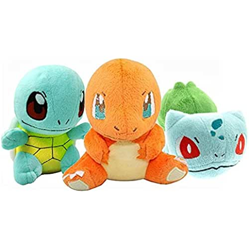 POKEMON - BULBASAUR & CHARMANDER & SQUIRTLE - SET 3 PELUCHES / 3 PLUSH TOYS SET