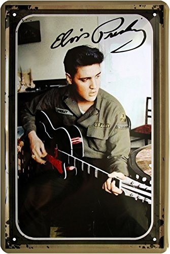 Elvis Presley US Army mit Gitarre 20x30 cm Blechschild 982 (Elvis Presley-dekorationen)
