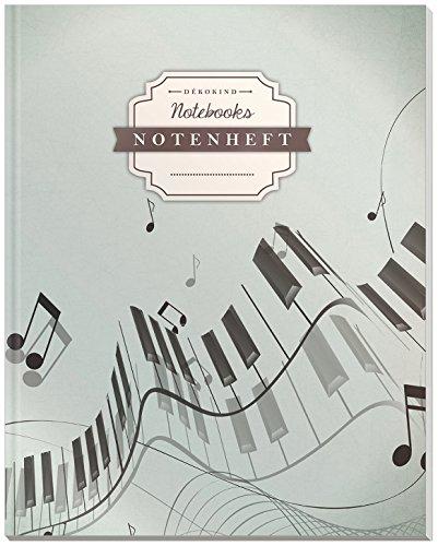 DÉKOKIND Notenheft   DIN A4, 64 Seiten, 12 Notensysteme pro Seite, Inhaltsverzeichnis, Vintage Softcover   Dickes Notenbuch   Motiv: Piano