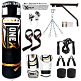 Heavy Filled 17 Piece 5ft Boxing Punch Bag Set Gloves Bracket Chains MMA