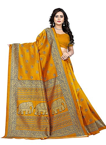 Mrinalika Fashion Women\'S Art Silk Saree With Blouse Piece (Elephant Print Yellow_Yellow_Freesize)