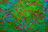 Handgefärbte Batik aus Indonesien / 'Flower Power' COL F / 100% Baumwolle aus Java / 120-130 gsm / Breite 110cm / Preis für 0,25lfm