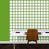 Schicke modernen Karo Tapete in grün - Vlies Tapete Streifen Karo - Klassische Wanddeko - GMM Design Tapete - Wandtapete - Wand Dekoration für edle Wohnakzente (um Wände halb hoch zu tapezieren H: 1,5m B: 46.5cm)