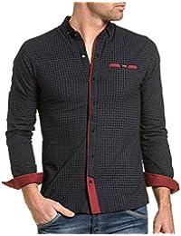 BLZ jeans - Chemise homme navy à motifs et pression