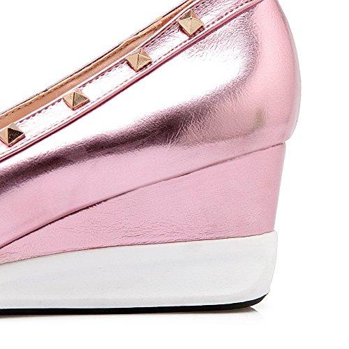 VogueZone009 Femme Pu Cuir à Talon Correct Pointu Couleur Unie Tire Chaussures Légeres Rose