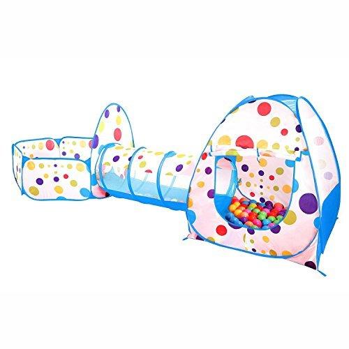 Kinder spielzelt mit Spielhaus Zelt, Krabbel Tunnel, Ball Pool Für Jungen und Mädchen Drinnen, Draußen,Garten (Blau Style1)