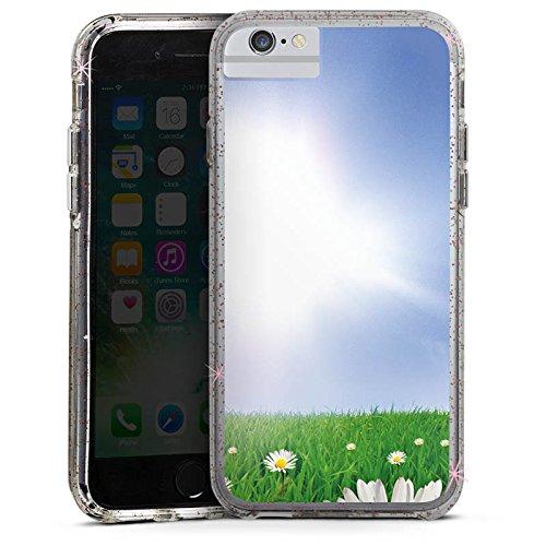 Apple iPhone 6 Bumper Hülle Bumper Case Glitzer Hülle Daisy Blumenwiese Sun Bumper Case Glitzer rose gold