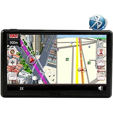 Coche GPS Navegación 7 Pulgadas LCD Tocar Pantalla Bluetooth alto Definición Impermeable alto Precisión SAT NAV Sistema 800MHZ FM MP3/MP4 Múltiples Funciones Medios de Comunicación Jugador Para Todos Vehículo GPS, Gratis Toda la vida Reino Unido y Europa Mapa Actualizaciones (8 GB)