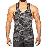 SMILODOX Camouflage Stringer Herren | Muskelshirt mit Aufdruck für Gym Fitness & Bodybuilding | Muscle Shirt - Unterhemd - Achselshirt - Trainingshirt Kurzarm, Größe:L, Farbe:Anthracite Camouflage