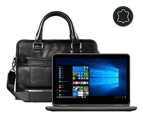 reboon Leder Laptoptasche für Damen/Herren passend für Dell Inspiron 11 3000 2 in 1 | Schwarz