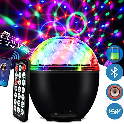 LED Discokugel 16 Beleuchtungsform Musikgesteuert Discolicht Lichteffekte mit USB Kabel und Batterie Disco Partylicht für Halloween Weihnachten Kinder Disco DJ Party Geburtstag Dekoration (Schwarz) -