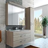 Badezimmer Möbel Set 100 cm breite mit Spiegelschrank, Hochschrank und Waschbecken Farbe Beige Weiß Creme Holz