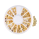 Beauty7 - Golden Metall Halbkugel Nietbolzen Design Nagelschmuck Nagel Sticke Rivet Nail Tips Dekoration Abziehbild Aufkleber Nagel Kunst Spitzen Größe: 1mm 1.5mm 2.5mm Anzahl: ca.300 Stücke
