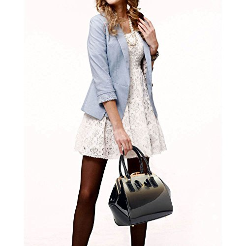 TrendStar Frauen neuer Designer-Handtaschen Damen Berühmtenart Kunstleder Taschen B - Silber