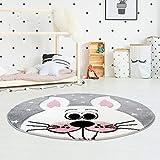 Kinderteppich Bueno Hochwertig mit Hasen-Motiv in Grau, Rosa mit Konturenschnitt und Glanzgarn für Kinderzimmer Größe 160/160 cm Rund