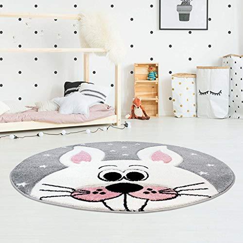 Kinderteppich Bueno Hochwertig mit Hasen-Motiv in Grau, Rosa mit Konturenschnitt und Glanzgarn für Kinderzimmer Größe 120/120 cm Rund