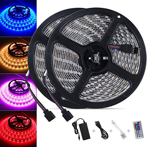 LED Strip 10M, Nasharia 300 LED Lichtband SMD 5050 RGB Led Streifen Licht mit 44 Tasten Fernbedienung IP65 Wasserdicht Selbstklebend LED Bänder mit Netzteil und Verbinder für Weihnachten Heim Küche