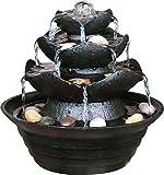 dobar 96410e Design Zimmerbrunnen aus Polyresin in Steinoptik mit Deko-Steinen, Wasserspiel mit Pumpe für innen, Kunststoff, schwarz, 22.2 x 22.2 x 20.6 cm
