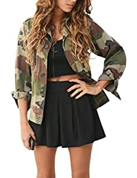 Koly Giacca Camouflage Donna Autunno Inverno Giacca Giacche Lungo Manica  Elegante Trench Blazer Giacca Parka Outwear 06f44bd4920a