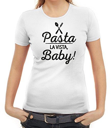 Kochen Koch Küchen Party Damen Frauen T-Shirt Rundhals Pasta La Vista Baby, Größe: XXL,Weiß