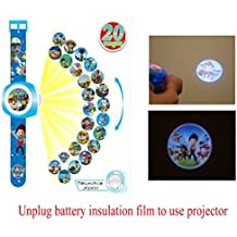 Reloj de proyección digital con 20 imágenes de patrulla de patas diferentes, reloj digital de cuarzo azul para niños como regalo