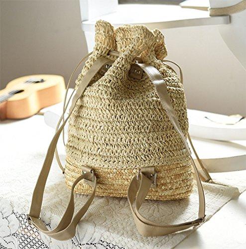 Imagen de leisial casual moda de  bolsa de paja playa verano vintage bolso de viaje pura mano de ganchillo straw bag para mujeres color beige alternativa