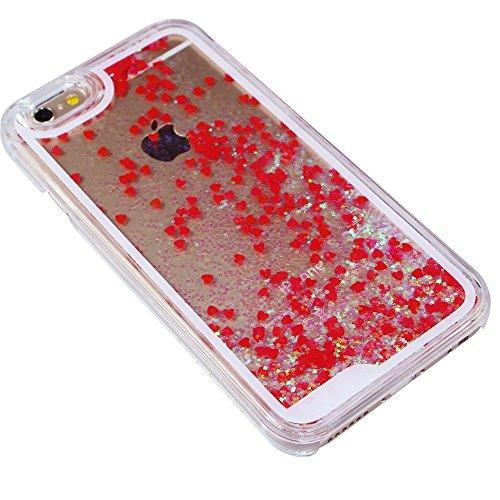 iPhone 6S Coque,iPhone 6 Coque,iPhone 6S Case,EMAXELERS Dauphin Series dur Plastique Transparent Clair Liquide Coque Bling Etui Housse pour iPhone 6S,Glitter Bling Sparkles Cute Blau Dauphin Design St Heart Series 1