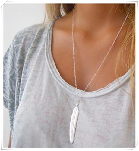 Large silver feather necklace, long pendant necklace, large feather, long silver necklace
