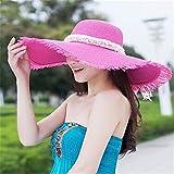GAOQIANGFENG Womens UPF 50 + Frauen Sommer Sonnenhut, Sonnenschutz Mädchen, Falten Strohhut mit Anti-UV-Sonnenschirm Kappe, Pink