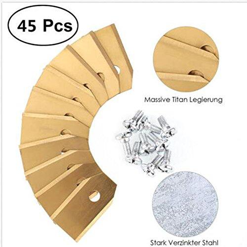 45 x Titan Messer Klingen für alle Husqvarn® Automower®/Yardforce/Gardena Mähroboter (3g – 0,75mm) inkl. 45 Schrauben, Diese Ersatzmesser passen für 105, 310, 315, 320, 420, 430x, r40i uvm