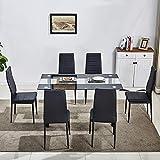 huiseneu - Juego de sillas de Comedor de Cristal Negro Moderno, Juego...