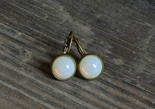 Bronze Opal Glas (schlichte bronze Ohrringe in opal weiß)