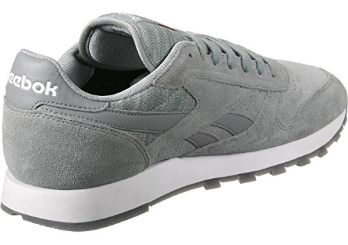 Reebok Cl Leather Nm, Scarpe da Running Uomo Grigio / Bianco (Flint Grey / White)