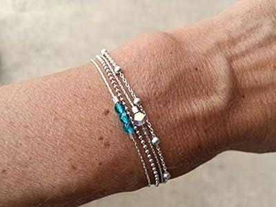 Bracelet en argent massif 3 perles en cristal de bohème turquoise