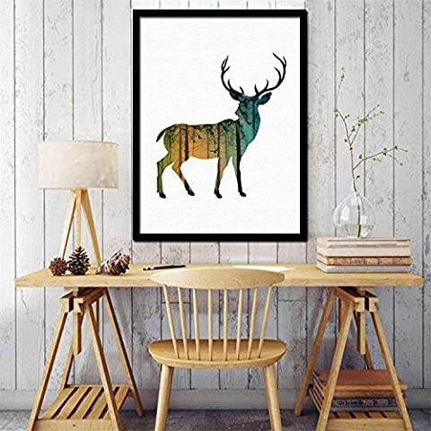 Yanqiao No Border Side Elk Deer Hunting Nature Animal Wall Decal Stickers Removable Art Home Decorations DIY Wallpaper Easy to Apply 50*60CM/19.7*23.6