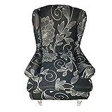 Fundas antideslizantes para sillas de ala Fundas elásticas para el sillón con orejeras, cubierta clásica de la butaca Jacquard Protector de muebles elástico a prueba de polvo Fundas antideslizantes