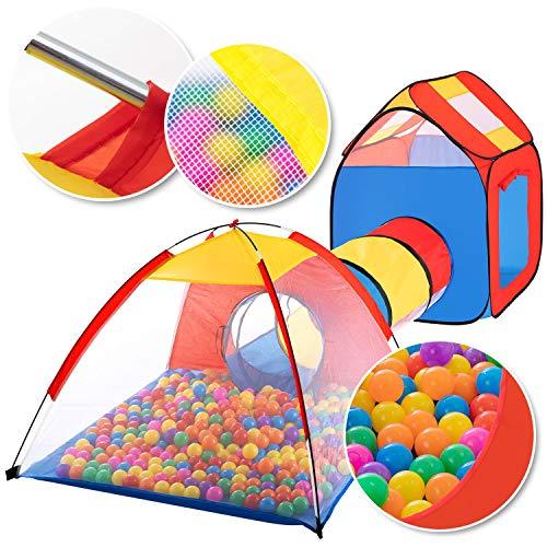 KIDIZ® Spielzelt Spielhaus Babyzelt 200 Bälle Bällebad Kinderzelt | Ideal für Zuhause & im Garten | Tasche | Tunnel, Größe: XXL