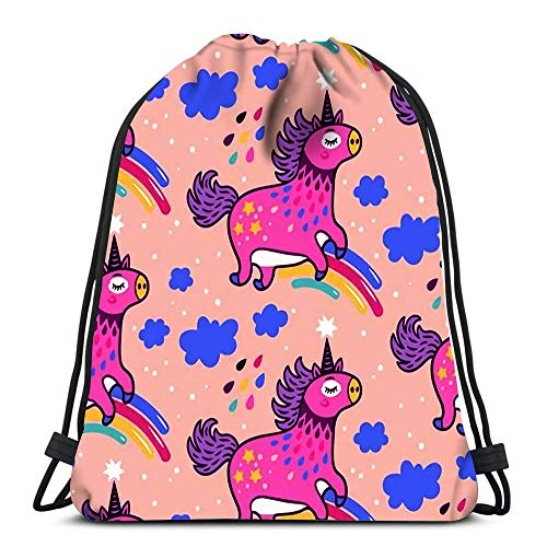Gym Drawstring Bags Cute Unicorns Rainbows Clouds and Rain Sport Storage Polyester Bag for Gym