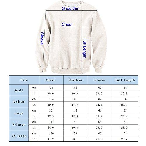 Leapparel Unisex 3D Gedruckt Langarm Coole Pullover Weihnachten T-shirt Xmas Katze3