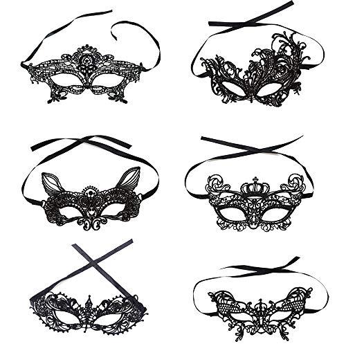 Forepin Lace Masquerade Maske Frauen Sexy Augenmaske Damen Maskenspiel Karneval Maskerade für Hallween Weihnachten Party Kostüm Ball Schwarz por (6 Packs)