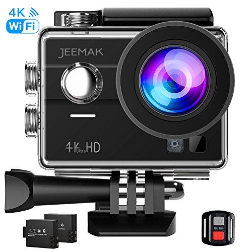 JEEMAK Caméra Sport Ultra HD 4K Action Cam WiFi Écran tactile Action Caméra 170 °Grand-Angle Etanche 30M avec Télécommande 2 Batteries Rechargeables et Kits Accessoires
